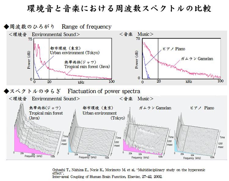 環境音と音楽における周波数スペクトルの比較